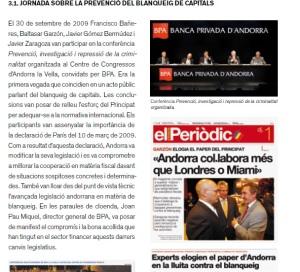 Les jornades de 2009 sobre blanqueig de capitals.