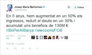 Tweet Bartomeu